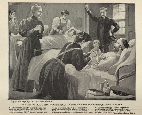Clara Barton tending to patients. (https://nyamcenterforhistory.org/2014/03/ ())