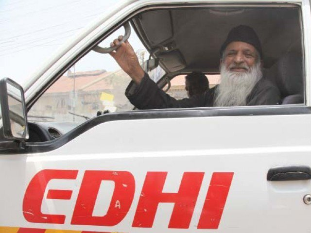 Edhi driving an Edhi Ambulance  (https://tribune.com.pk/story/267674/pakistans-moth ())