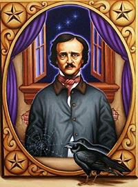 Edger Allan Poe with a raven<br>  (http://www.hmd225.com/fall03<br>/Hou/art_edgerallenpoe.jpg)