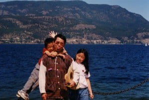 Dad and the children  (Legendary Dragon Lake near the Rocky Mountains)