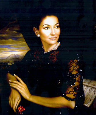 At the Callas exhibition, <a href=(http://www.callas.it/english/foto.html>Callas' oil painting</a>