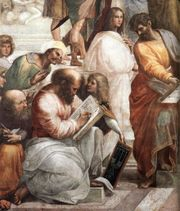 <a href=http://upload.wikimedia.org/wikipedia/commons/3/3f/Sanzio_01_Pythagoras.jpg>Pythagoras </a>is the center person writing.