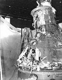A Mercury space craft after a failed launch (NASA)
