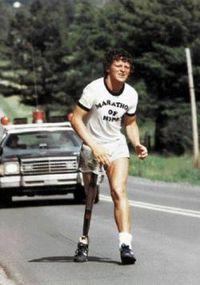 Terry Fox running. (https://en.wikipedia.org/wiki/Terry_Fox)