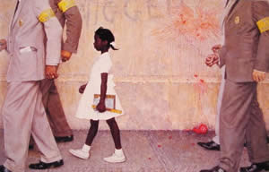 Norman Rockwell's painting of Ruby Bridges<br>(http://upload.wikimedia.org/wikipedia/en/e/ed/The-problem-we-all-live-with-norman-rockwell.jpg)