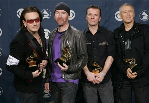 Bono and U2 at the grammys (Google)