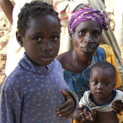 Refugee children with mothers in Liberia