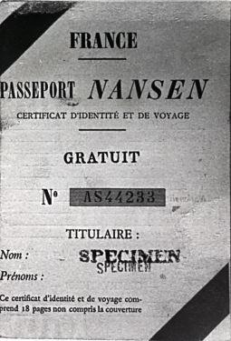 The Nansen Passport:<br> from https://www.nb.no/baser/nansen/english.html<p>