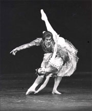 Rudolf Nureyev and Margot Fonteyn in The Sleeping Beauty, ca. 1974. Photograph by Louis Peres. - Jerome Robbins Dance Division, The New York Public Library for the Performing Arts.