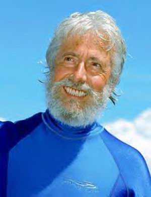 """Jean-Michel Cousteau was first """"thrown overboard"""" by his father, oceanographer Jacques Cousteau, at the age of seven. Strapped into newly invented scuba ... - g8396_u7962_cousteau"""