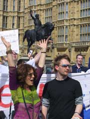 Anita & Thom Yorke of Radiohead for The Trade Justice Movement outside London's House of Parliament