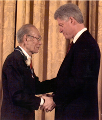 Fred was honored by President Clinton. Photo courtesy of AP/Denis Cook.