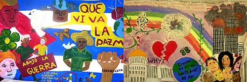 Details from two separate murals done by children in Cuba and Canada.