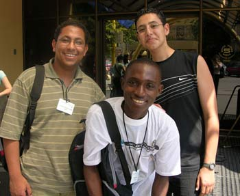 Rashid Peters and two Egyptian students at iEARN's 2004 conference in Kosice, Slovakia.