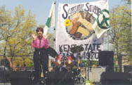 Speaking at a peace rally, Kent State University