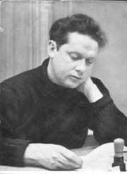The Poet preparing to read