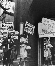 School segregation protest  <br>image from the National Archives